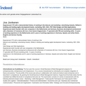 Jos Jonkeren CV on Indeed